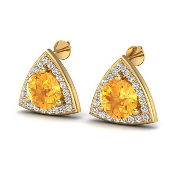 3 ctw Citrine & Micro Pave VS/SI Diamond Stud Earrings 18k Yellow Gold - REF-48H6R