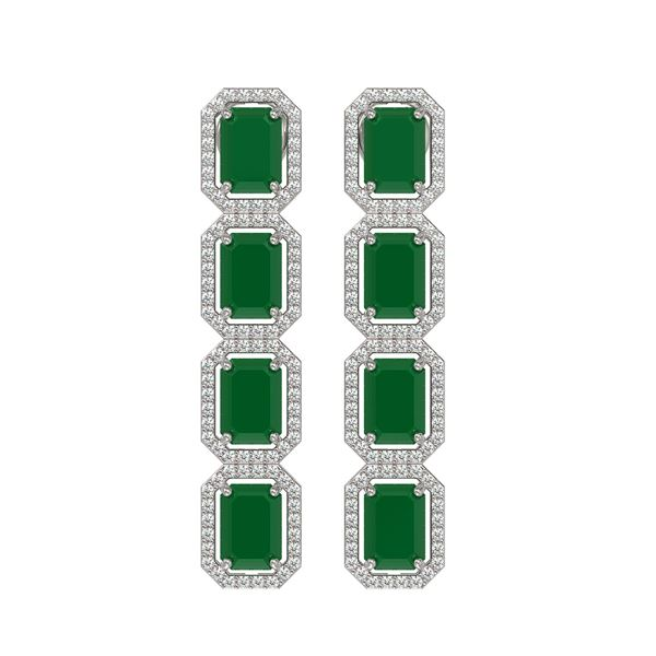 12.33 ctw Emerald & Diamond Micro Pave Halo Earrings 10k White Gold - REF-178W2H
