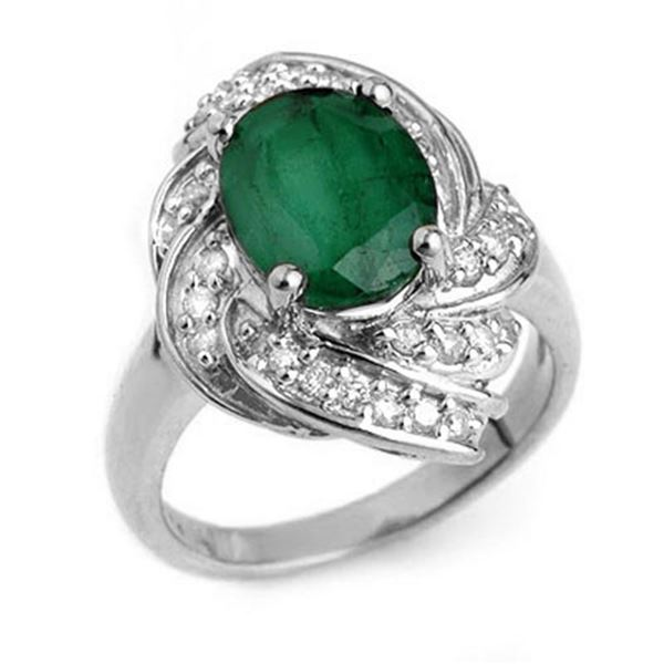 3.29 ctw Emerald & Diamond Ring 18k White Gold - REF-118W2H