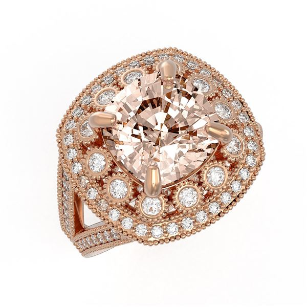 5.82 ctw Certified Morganite & Diamond Victorian Ring 14K Rose Gold - REF-212M4G