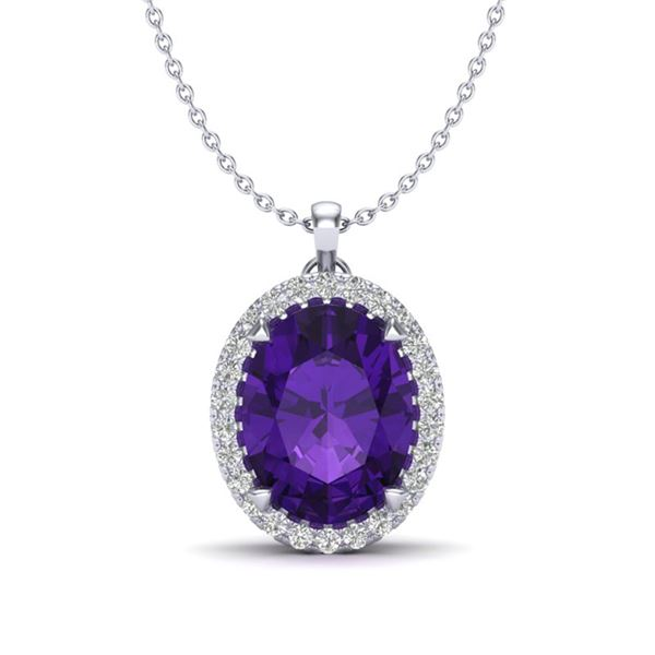 2.75 ctw Amethyst & Micro VS/SI Diamond Halo Necklace 18k White Gold - REF-34K6Y