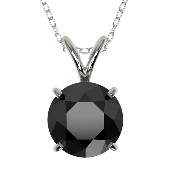 1.50 ctw Fancy Black Diamond Solitaire Necklace 10k White Gold - REF-30N3F