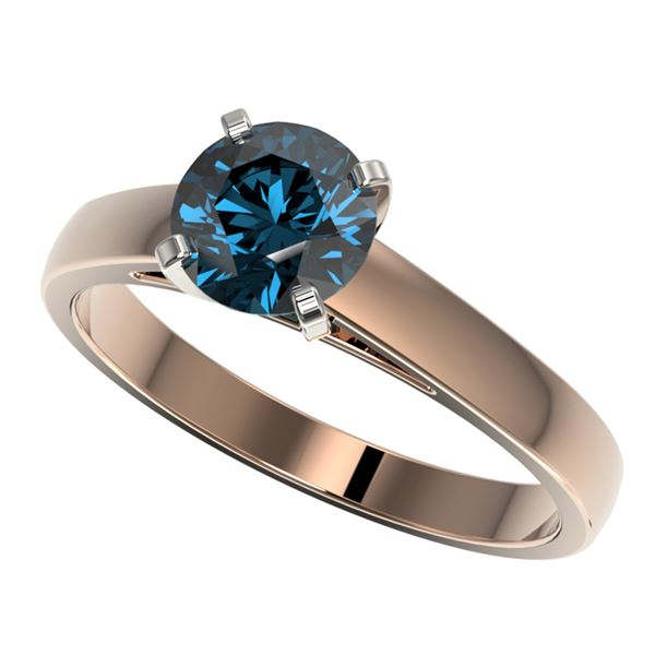 1.25 ctw Certified Intense Blue Diamond Engagment Ring 10k Rose Gold - REF-120N3F