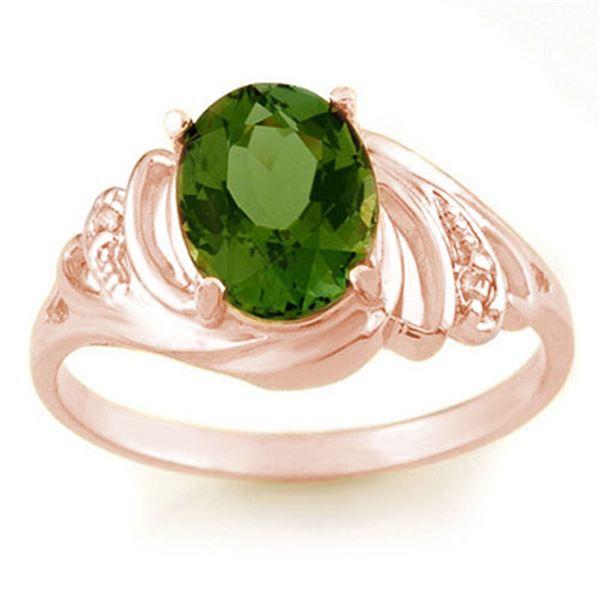 2.54 ctw Green Tourmaline & Diamond Ring 14k Rose Gold - REF-34W9H