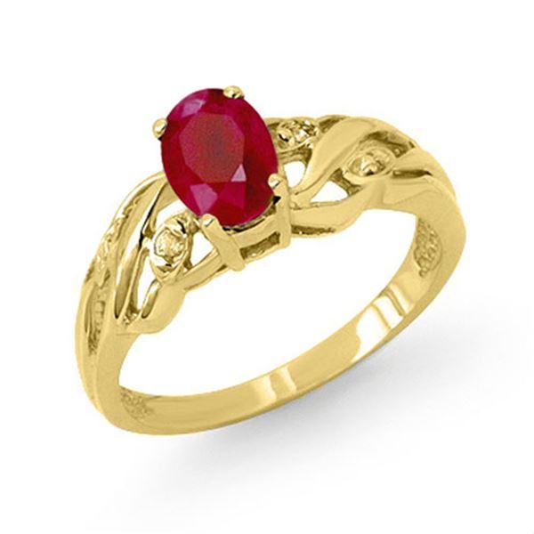 1.02 ctw Ruby & Diamond Ring 10k Yellow Gold - REF-15G2W