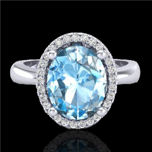 3 ctw Sky Blue Topaz & Micro Pave VS/SI Diamond Ring 18k White Gold - REF-39N5F