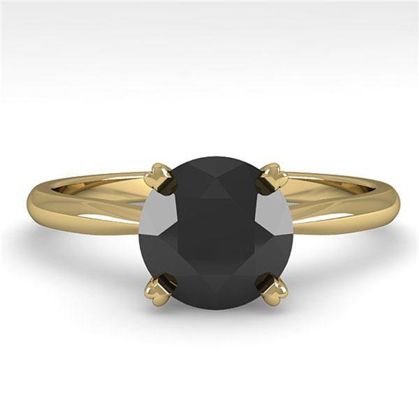 1.50 ctw Black Diamond Engagment Designer Ring 14k Yellow Gold - REF-35G6W