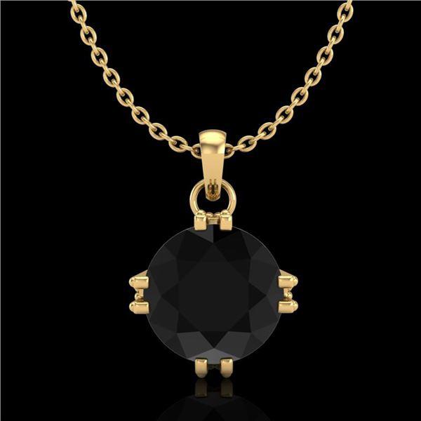 1 ctw Fancy Black Diamond Art Deco Stud Necklace 18k Yellow Gold - REF-52K3Y