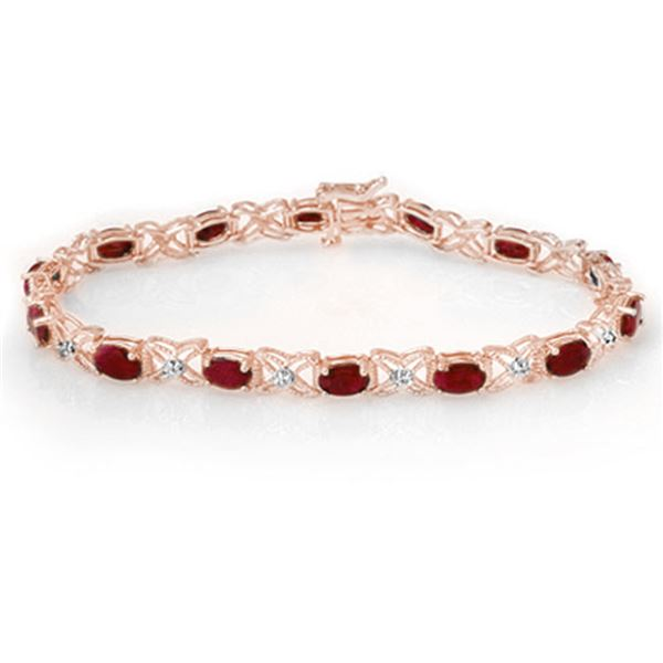8.55 ctw Ruby & Diamond Bracelet 10k Rose Gold - REF-100K2Y