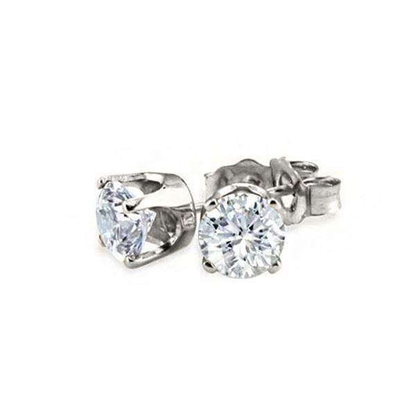 0.90 ctw Certified VS/SI Diamond Stud Earrings 14k White Gold - REF-97R2K