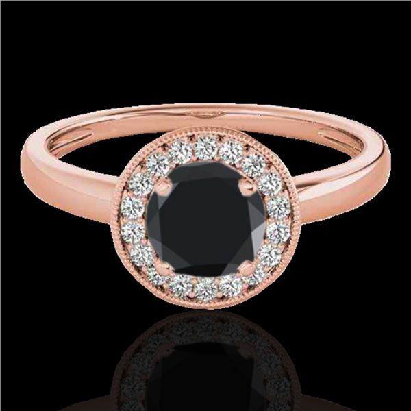 1.15 ctw Certified VS Black Diamond Solitaire Halo Ring 10k Rose Gold - REF-36R3K