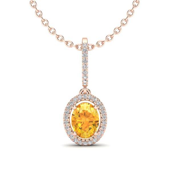 1.75 ctw Citrine & Micro Pave VS/SI Diamond Necklace 14k Rose Gold - REF-40X2A