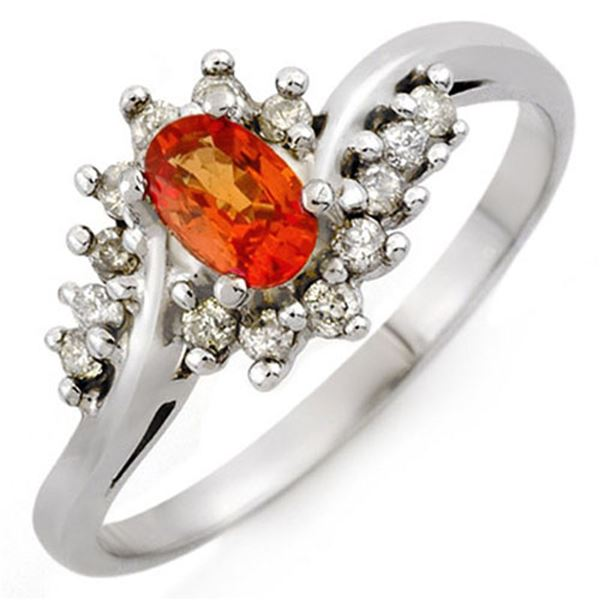 0.55 ctw Orange Sapphire & Diamond Ring 14k White Gold - REF-25X9A