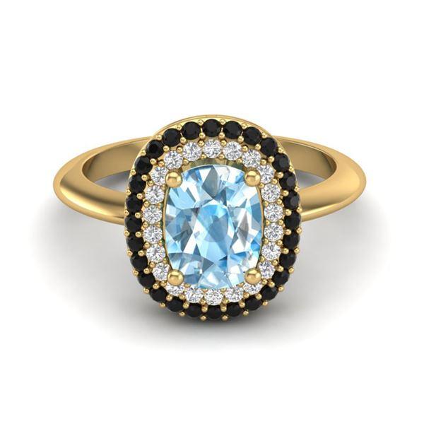 2.50 ctw Sky Blue Topaz With Black & Micro Diamond Ring 14k Yellow Gold - REF-52W8H