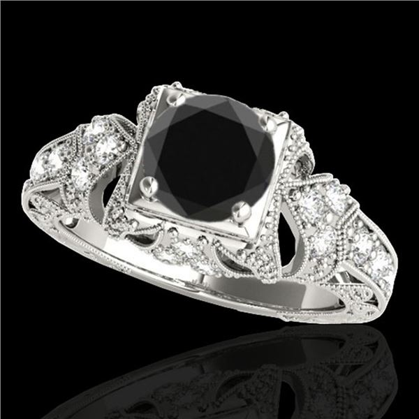 1.25 ctw Certified VS Black Diamond Solitaire Antique Ring 10k White Gold - REF-51X3A