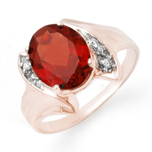 1.64 ctw Garnet & Diamond Ring 10k Rose Gold - REF-12A3N