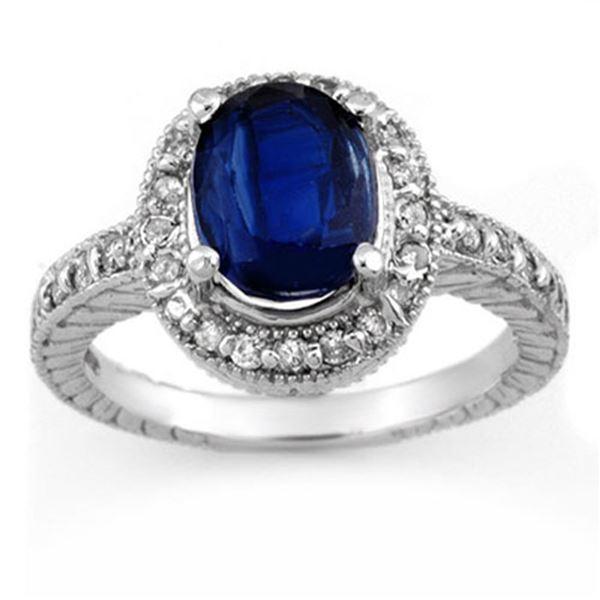 4.40 ctw Kaynite & Diamond Ring 14k White Gold - REF-110W9H