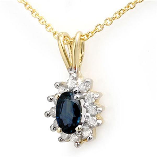 0.51 ctw Blue Sapphire & Diamond Pendant 10k Yellow Gold - REF-10H4R