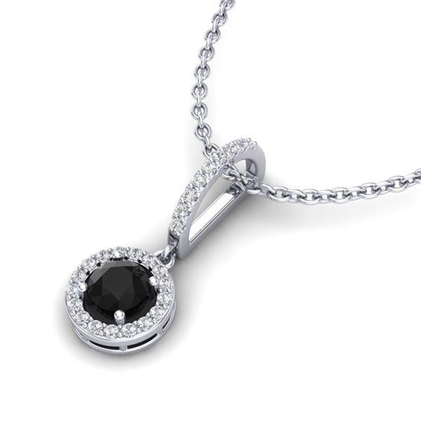 1 ctw Micro Pave Black & White VS/SI DiamondNecklace 18k White Gold - REF-45Y2X