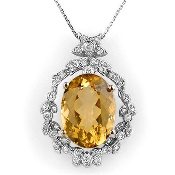 12.8 ctw Citrine & Diamond Necklace 14k White Gold - REF-106F8M