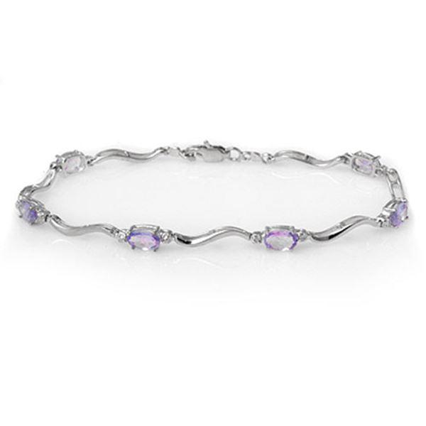 4.02 ctw Tanzanite & Diamond Bracelet 10k White Gold - REF-34F8M