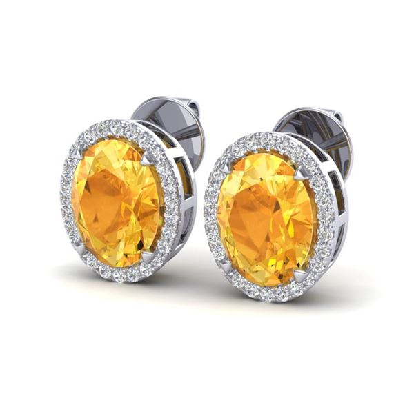5.50 ctw Citrine & Micro VS/SI Diamond Halo Earrings 18k White Gold - REF-49X2A