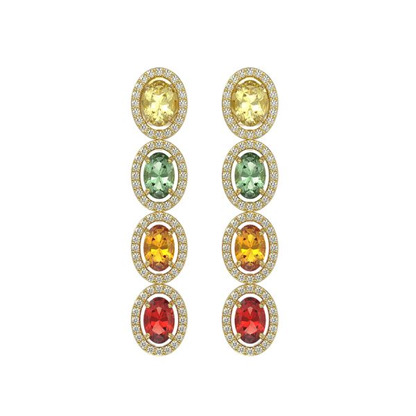 6.09 ctw Multi Color Sapphire & Diamond Micro Pave Earrings 10k Yellow Gold - REF-143M6G