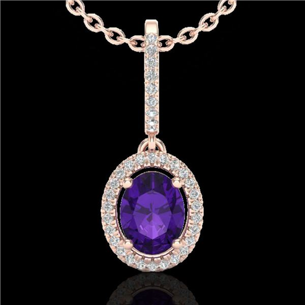 1.75 ctw Amethyst & Micro Pave VS/SI Diamond Necklace 14k Rose Gold - REF-41N3F