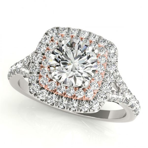 1.04 ctw Certified VS/SI Diamond Solitaire Halo Ring 18k 2Tone Gold - REF-101N2F