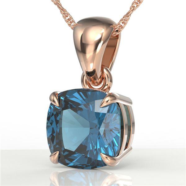 1.50 ctw Cushion London Blue Topaz Designer Necklace 14k Rose Gold - REF-17H8R