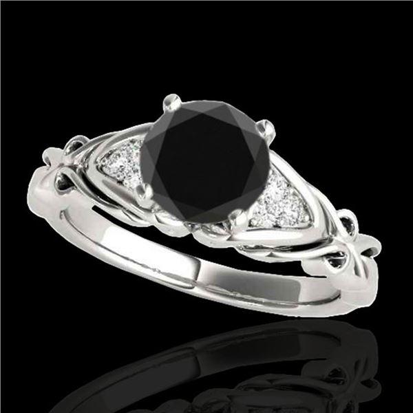 1.1 ctw Certified VS Black Diamond Solitaire Ring 10k White Gold - REF-38G2W