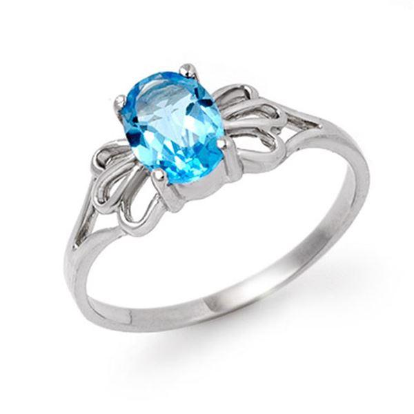 0.90 ctw Blue Topaz Ring 14k White Gold - REF-10X9A