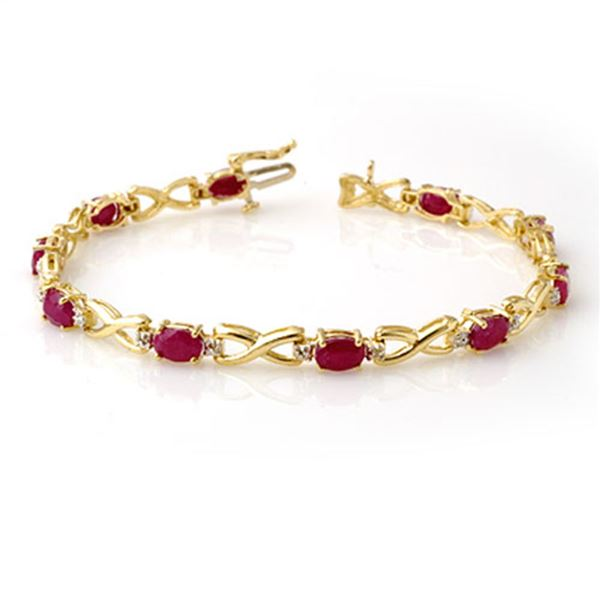 8.50 ctw Ruby & Diamond Bracelet 10k Yellow Gold - REF-78R9K
