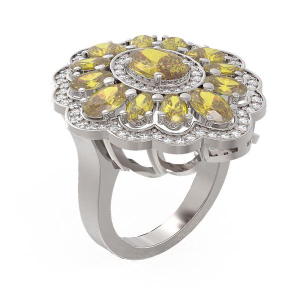 6.74 ctw Canary Citrine & Diamond Ring 18K White Gold - REF-140R2K