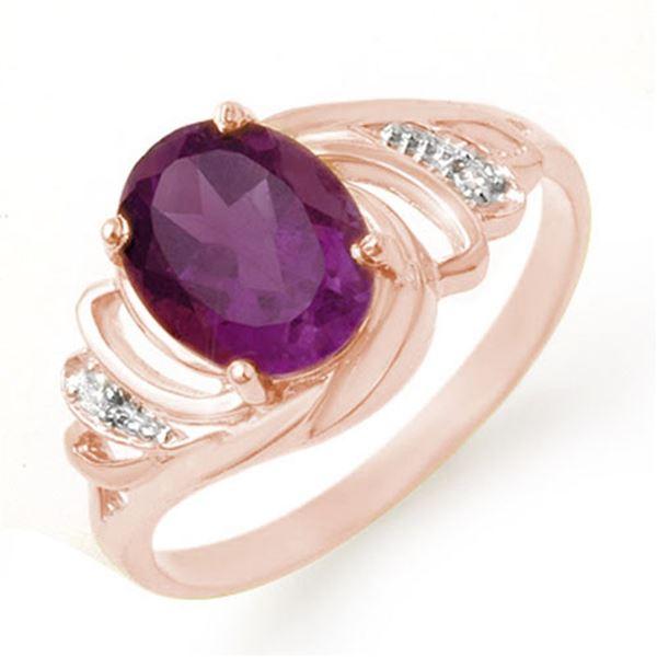 1.48 ctw Amethyst & Diamond Ring 14k Rose Gold - REF-17X8A