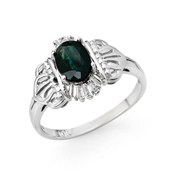 1.04 ctw Blue Sapphire & Diamond Ring 10k White Gold - REF-14A6N