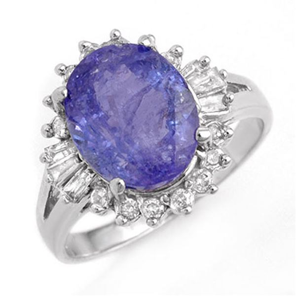 4.06 ctw Tanzanite & Diamond Ring 18k White Gold - REF-113F6M