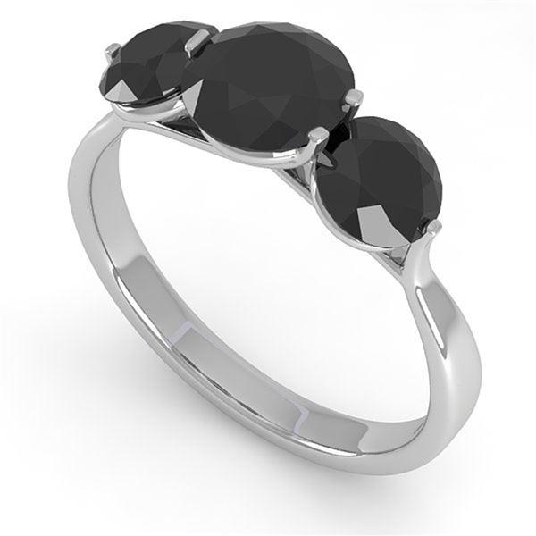 2 ctw Past Present Future Black Diamond Ring Martini 14k White Gold - REF-57X2A