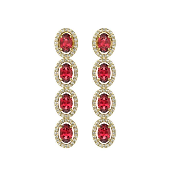 5.88 ctw Tourmaline & Diamond Micro Pave Halo Earrings 10k Yellow Gold - REF-143H6R
