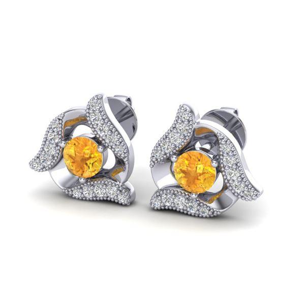 0.80 ctw Citrine & Micro Pave VS/SI Diamond Earrings 18k White Gold - REF-40A4N