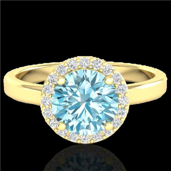 2 ctw Sky Blue Topaz & Halo VS/SI Diamond Micro Ring 18k Yellow Gold - REF-37F6M