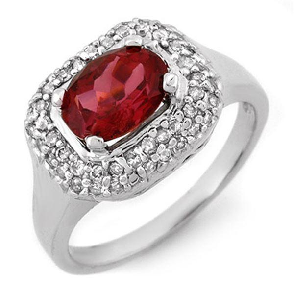 1.90 ctw Rubellite & Diamond Ring 14k White Gold - REF-81Y8X