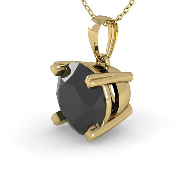 1 ctw Black Diamond Designer Necklace 14k Yellow Gold - REF-27M2G