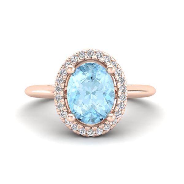 1.50 ctw Aquamarine & Micro VS/SI Diamond Ring Halo 14k Rose Gold - REF-37X3A
