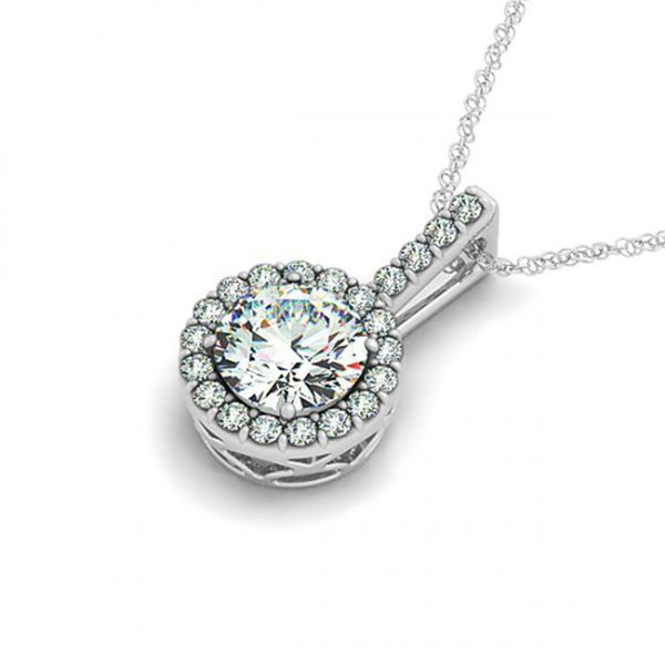 0.75 ctw Certified SI Diamond Halo Necklace 14k White Gold - REF-96A5N