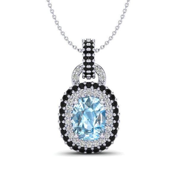 2.50 ctw Sky Blue Topaz & Black, Micro Diamond Necklace 14k White Gold - REF-52X8A