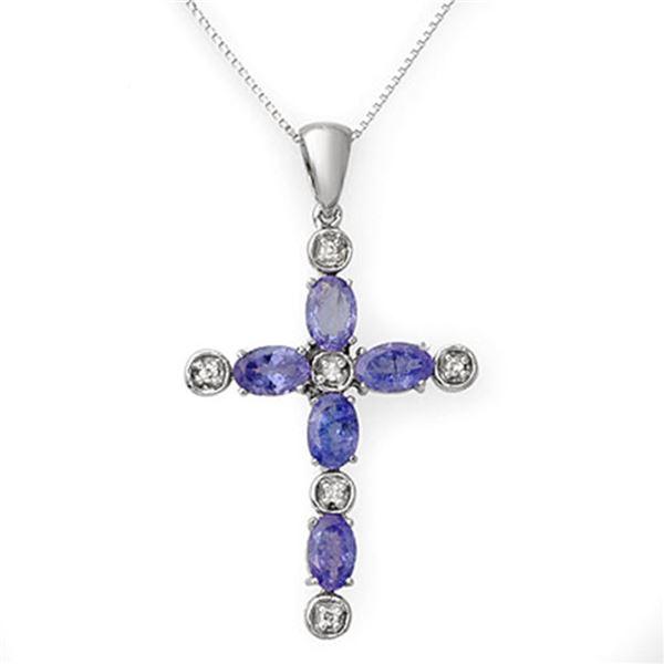 3.15 ctw Tanzanite & Diamond Necklace 18k White Gold - REF-45F2M