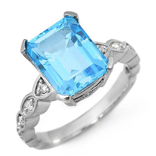 5.25 ctw Blue Topaz & Diamond Ring 10k White Gold - REF-25A4N