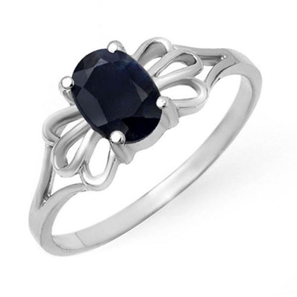 1.10 ctw Blue Sapphire Ring 10k White Gold - REF-8H2R