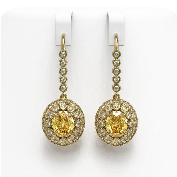 7.65 ctw Canary Citrine & Diamond Victorian Earrings 14K Yellow Gold - REF-216F9M